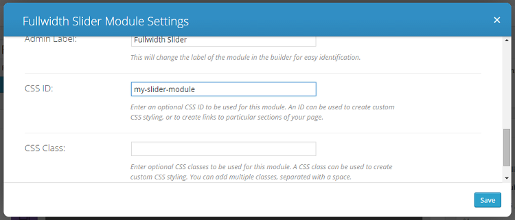 divi slider module settings - css id